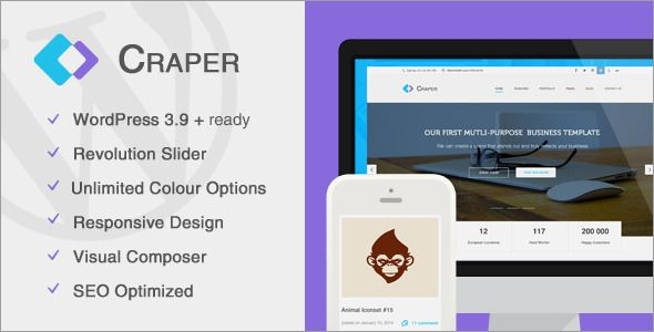 Craper #Business #WordPress Theme on #ThemeForest. #responsive #creative #gallery #photography #portfolio #template #modern #inspiration #webdesign