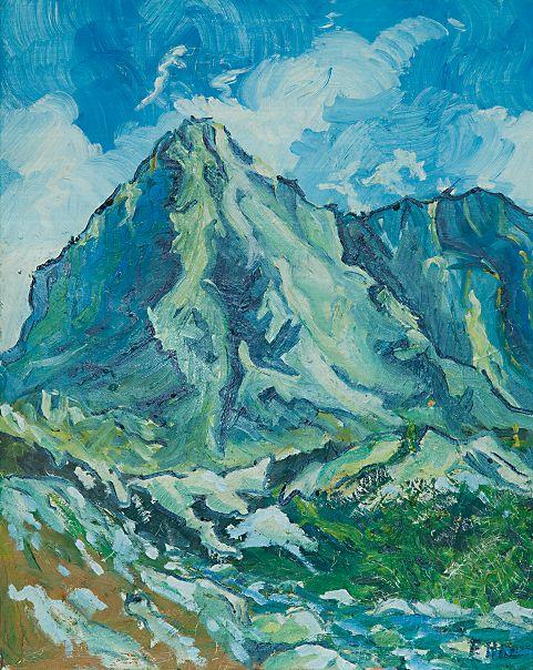 Skalnatá hora, olej na kartóne 50 x 40 cm, Pavel Huszár, Banská Bystrica, Slovakia