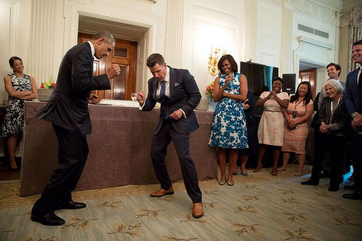 "May 18, 2015 ""'Show us the Jeremy dance,' the President said to departing Social Secretary Jeremy Bernard, during a farewell ceremony for Jeremy in the State Dining Room of the White House."" (Official White House Photo by Pete Souza) This official White House photograph is being made available only for publication by news organizations and/or for personal use printing by the subject(s) of the photograph. The photograph may not be manipulated in any way and may not be used in commercial or…"