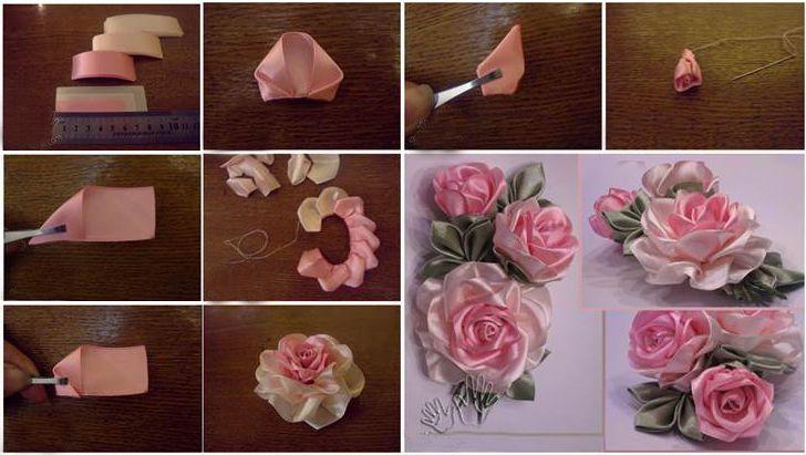 Kurdeleden Gül Yapımı (Ribbon Rose) - El Sanatları ve Hobi Sitesi - El Sanatları ve Hobi Sitesi