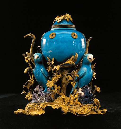 Blue Chinese style Potpourri upheld by three blue parrots and gilded flora - From the boudoir of Marie Antoinette