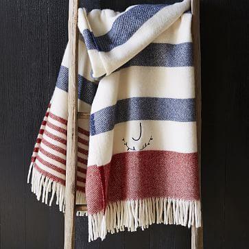 Faribault American Stripe Wool Throw - Ivory #westelm