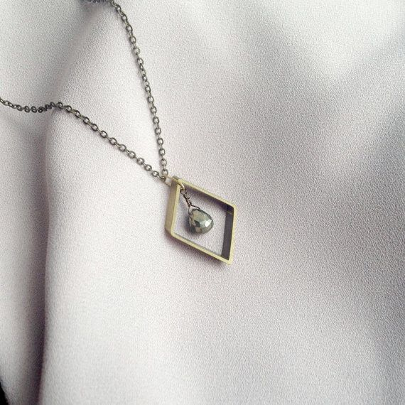 Bronze rhombus & pyrite necklace by LYNGjewelry on Etsy
