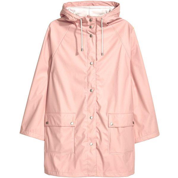 Raincoat $69.99 ($70) ❤ liked on Polyvore featuring outerwear, coats, jackets, pink raincoat, mac coat, pink coat, rain coat and light pink coat