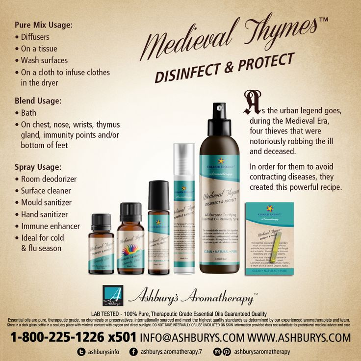Medieval Thymes: Disinfect & Protect As the urban legend goes, during the Medieval Era, there were four thieves that were notoriously robbing the ill and deceased. In order for them to avoid contracting diseases, they created this powerful recipe. Ashbury's Aromatherapy offers private branding of our Medieval Thymes Recipe. Call Harlie at 1-800-225-1226 x501 for details. https://www.ashburys.com/ #ashburysaromatherapy