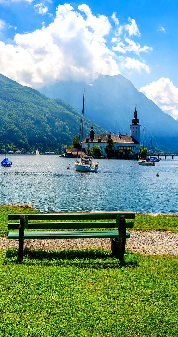 Cinematic View of Traunsee mountain lake in summer, Gmunden, Austria | 30+ Truly Charming Places To See in Austria
