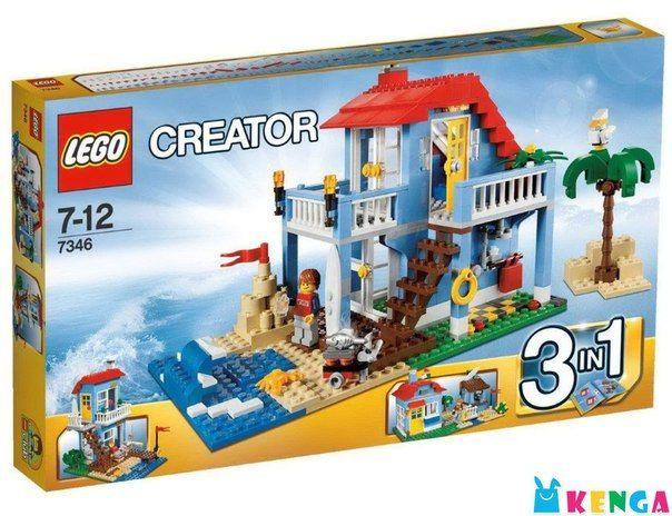 #LEGO «Дом на морском побережье»; цена: 7 800 KZT; код товара: 7346 производство: #LEGO; возраст: 7+; количество деталей: 415; На первом этаже этого прекрасного домика находятся душ и навес для приготовления барбекю. На стене висят жёлтый спасательный круг и доска для сёрфинга. На втором этаже расположилась спальня с балконом. Во дворе можно построить замок из песка.