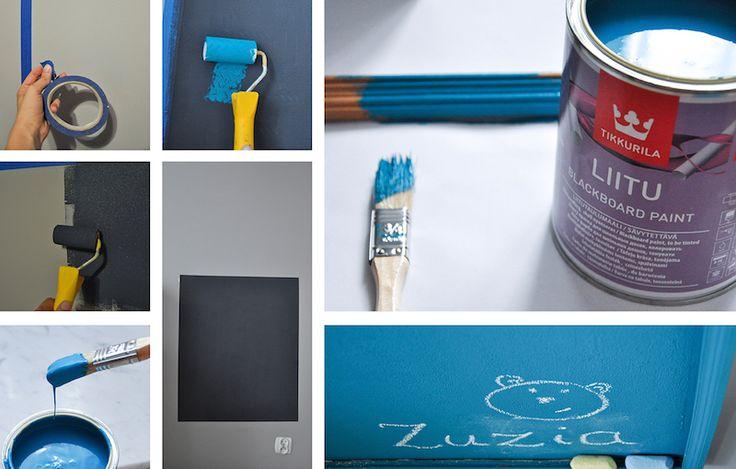 Kącik dla ucznia #farbatablicowa #farbamagnetyczna #magneticboard #chalkboard #memoboard Użyte produkty: Tikkurila Magnetic, Tikkurila Liitu autor: Ale Tu Ładnie