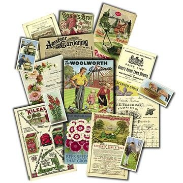 Take a nostalgic trip down memory lane with this reproduction Garden Memorabilia Pack. Nostalgic images of the halcyon days of gardening. www.cloth-ears.co.uk #vintage #retro #garden