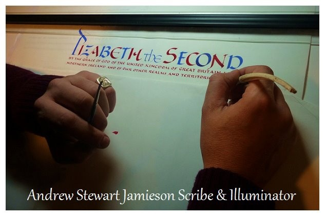 English Artist Andrew Stewart Jamieson working on a letters patent inside his studio in England.