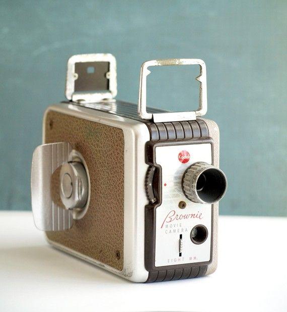 Vintage Camera Kodak Brownie Turret f/1.9 Multi-Lens 8mm Movie Camera 1950s. I'm so lucky to've found one.
