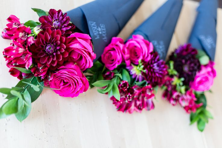 Watson in the Woods, Three Small Posies, Cone Bouquet, Hand Tied Bouquet, Deep pink flowers including roses, burgundy dahlias, Alstromeria and Italian ruscus. Just $40 including tax and delivery.