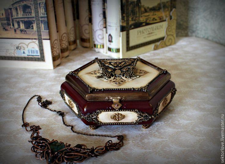 Купить шкатулка с бабочкой - бордовый, шкатулка для украшений, шкатулка декупаж, шкатулка для мелочей, шкатулка деревянная