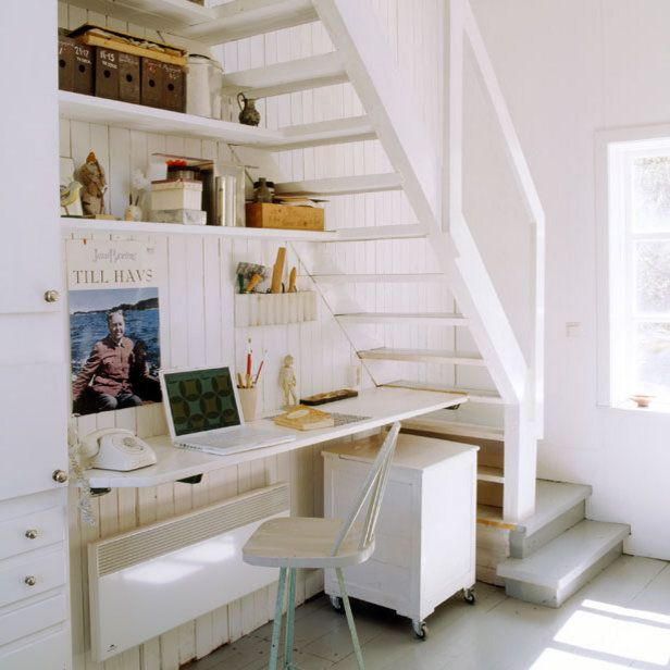 White Style Under Stairs Office Design