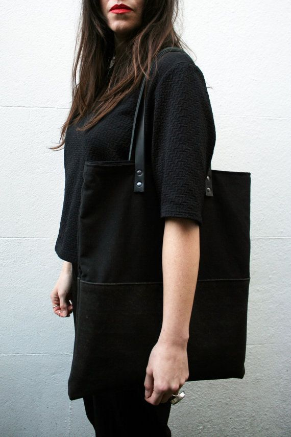 Black organic cotton canvas tote shopper bag eco by LINThomeware
