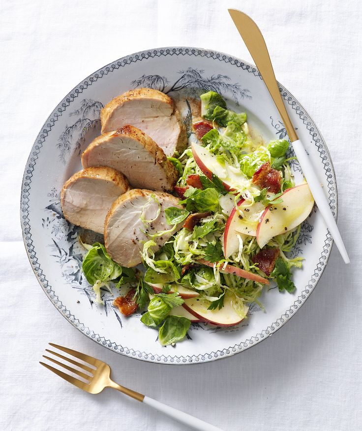 Pan-Roasted Pork Tenderloin With Brussel Sprouts Salad | This impressive dinner requires very few ingredients, and is a bright and flavorful addition to your weeknight dinner rotation.