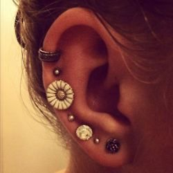 piercings: Studs, Style, Cute Earrings, Daisies, Jewelry, Flowers Earrings, Accessories, Multiplication Ears Piercing, Ears Cuffs