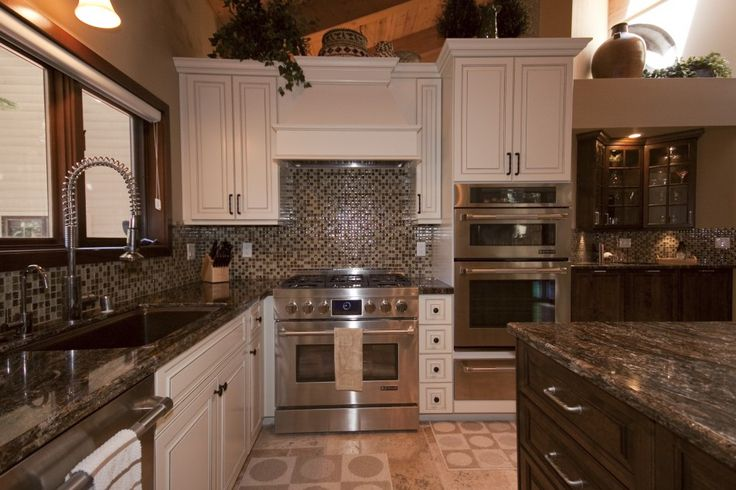 Kitchen, Modern Grey And White Kitchen Inspiration With Amazing Backsplash Double Gas Range Self Cleaning Convection Oven In Stainless Steel A Sink Washbasin And Coutertops And Faicets And Washbasin: Awesome Uniquely Kitchen Cabinet Styles