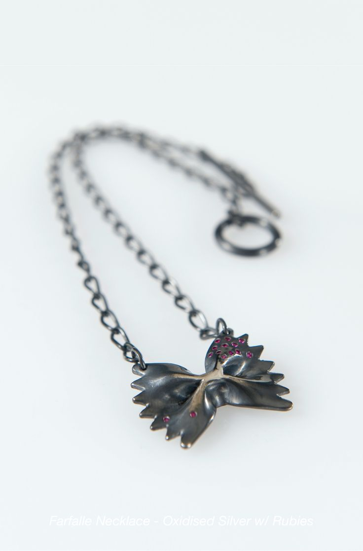 Lucy Folk presents PASTA - 2009 - FARFALLE NECKLACE (OXIDISED SILVER)
