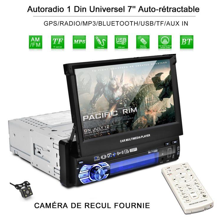 catuo autoradio bluetooth gps 1din 7 39 39 cran auto r tractable tactile 1080p radio fm am mp3 sd. Black Bedroom Furniture Sets. Home Design Ideas