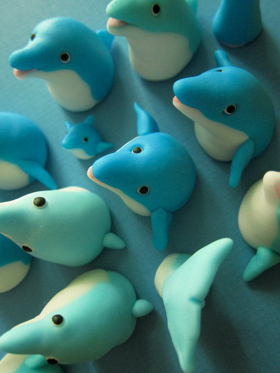 Dolphin Family Cupcake Toppers 12 items plus 2 by mimicafeunion, $42.00