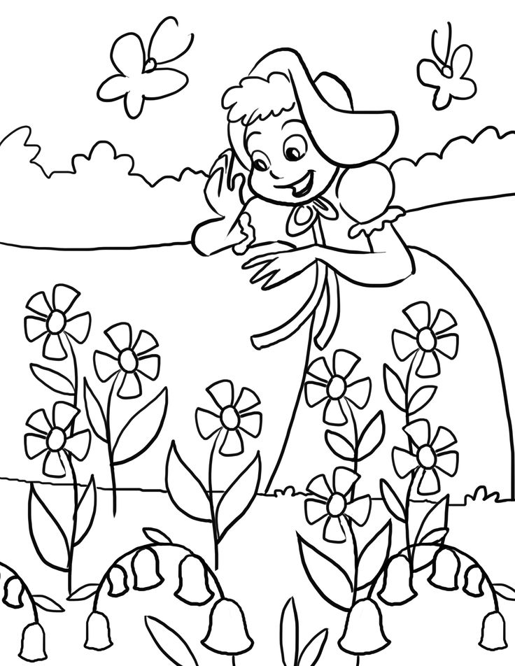 Artwork for kids to color mary mary quite contrary for Free printable nursery rhyme coloring pages