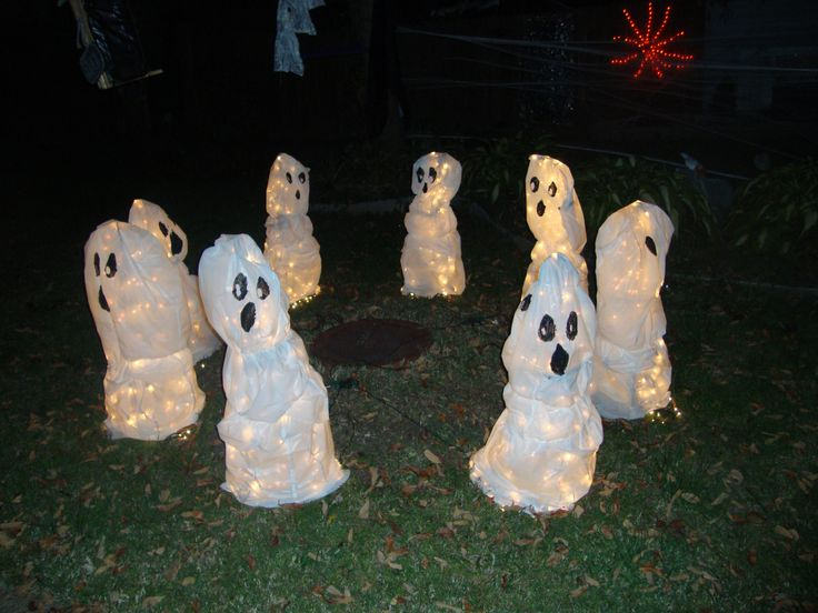 haunted trash bag ghosts halloween decorations lighted ghosts - Lighted Halloween Decorations
