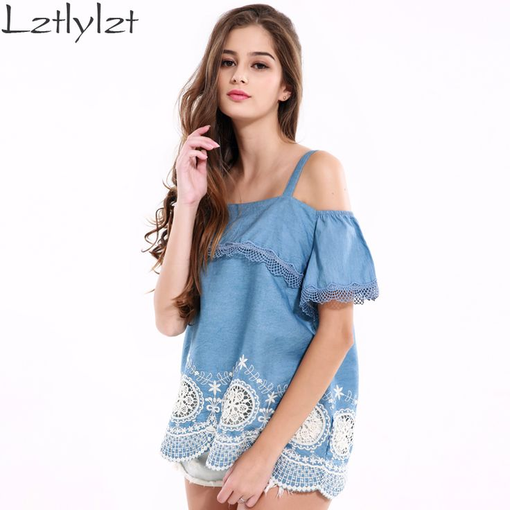 Women Tops Blue Off Shoulder Lace Hollow Out Tank Top Summer Fashion Backless  Women Shirts Clothes