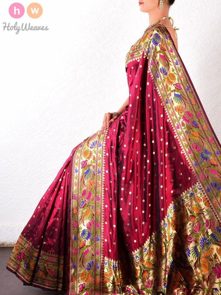 #Maroon #Katan #Silk #Paithani #Handwoven #Saree #HolyWeaves