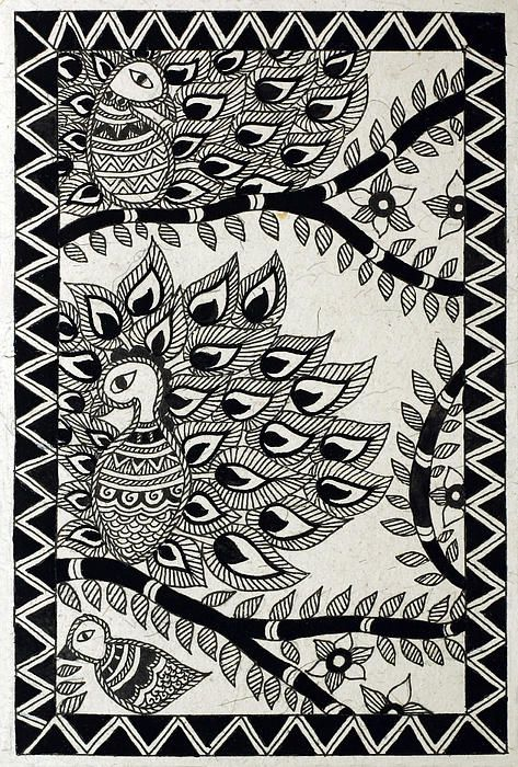 madhubani black and white birds