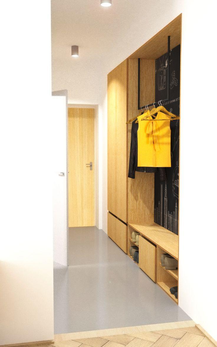 Návrh predsiene so šatníkovou skriňou - Interiér bytu pri Štrkoveckom jazere, Bratislava - Interiérový dizajn / Hall interior by Archilab