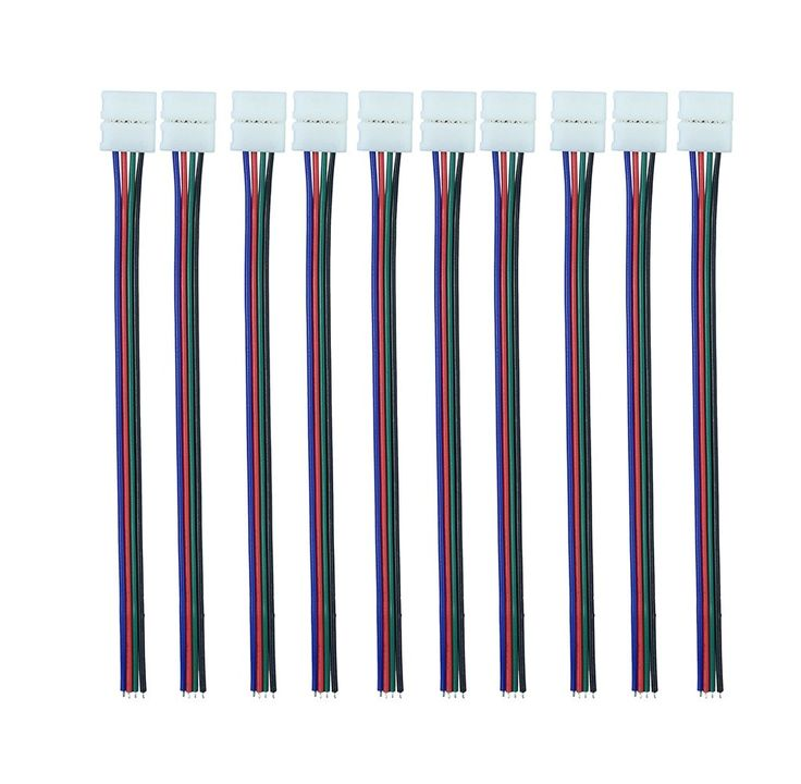 iCreating RGB 4 Pin 10mm LED Connector with Pigtail (10pcs), Flexible Light Strip Solderless Clamp On Pigtail Adapter for 10mm Wide 5050 RGB Flexible LED Strips