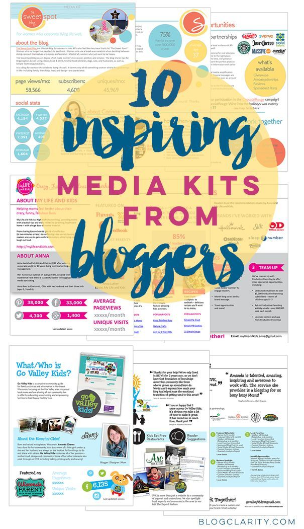 Media Kit examples from bloggers who used flexible, professional media kit templates. Get media kit ideas from 10 bloggers. blogging tools, #blog #blogging #success