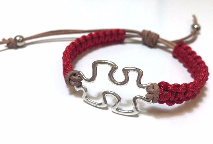 Puzzle Silver Color Red Nylon Cord Beige Leather Bracelet Women's Adjustable | eBay