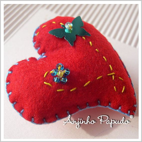 Valentine Red Heart Brooch with Butterfly by anjinhopapudoshop.