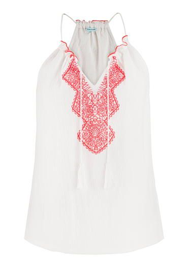 white tank with pink embroidery and cinched neckline #maurices