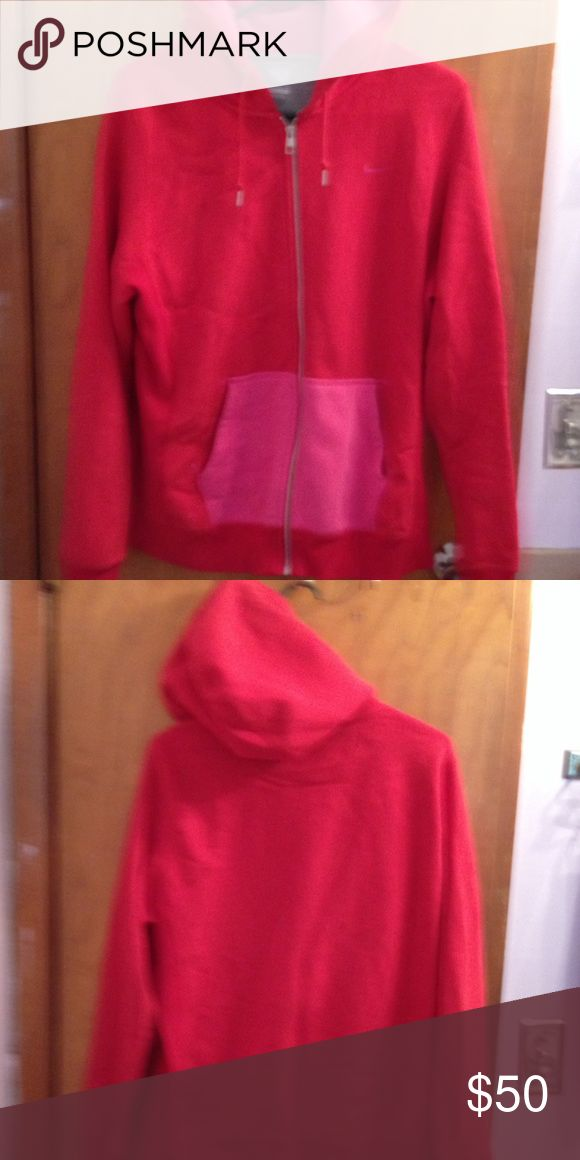 Women's Nike Red and Pink zip up hoodie Excellent condition, Women's Nike red and pink zip up hoodie. Very soft, no pilling. Only wore a handful of times. Nike Jackets & Coats