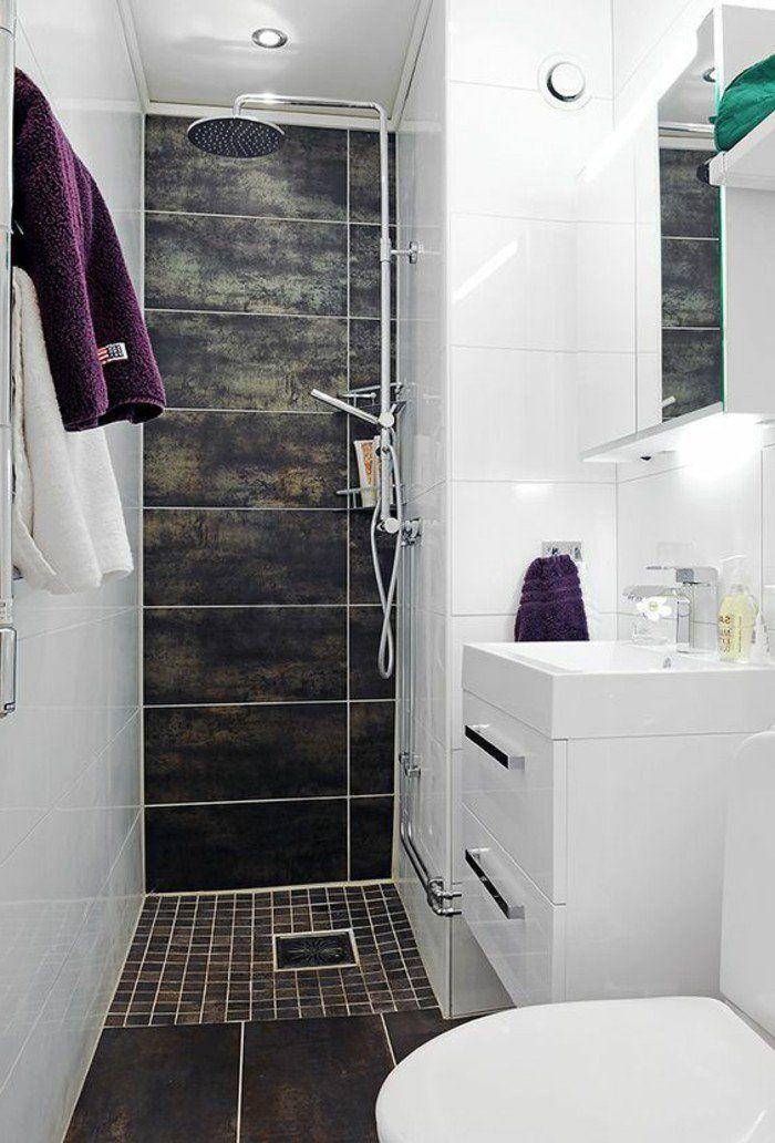 salle d\'eau 3m2 en couleur blanc et marron, idee comment ...