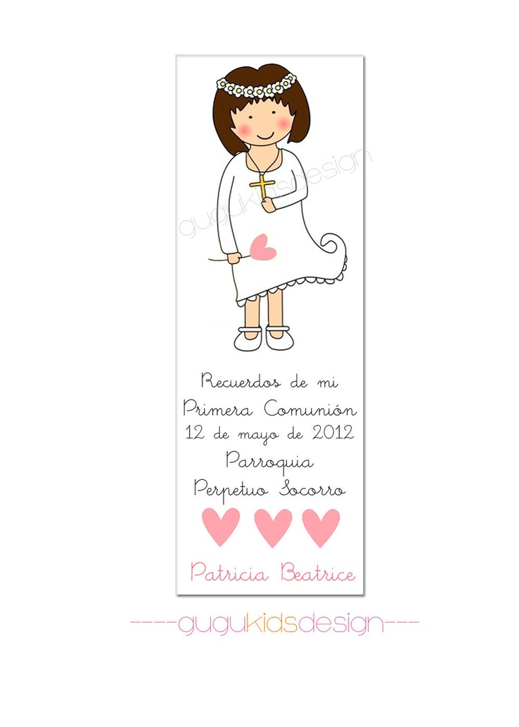 DIY Printable- Girl (Patricia) First  Communion Favor Bookmark. $10.00, via Etsy.