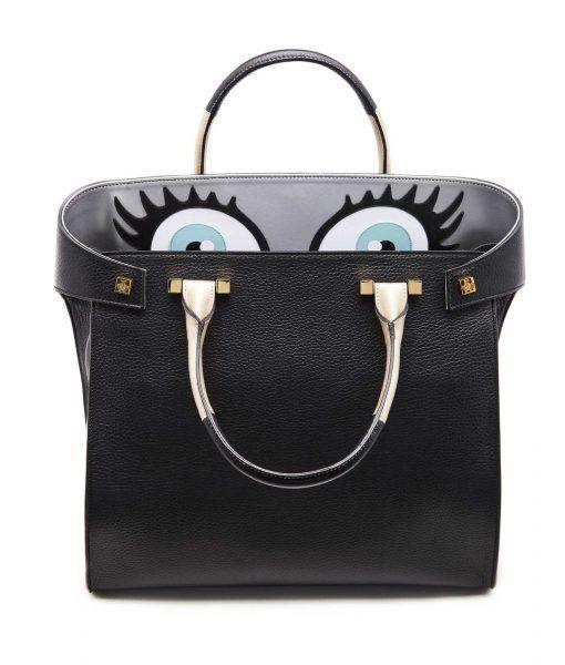 Giancarlo Petriglia Blue eyes black leather tote