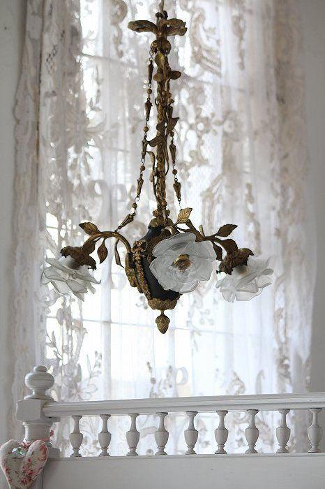 Vintage shabby chic rose chandelier