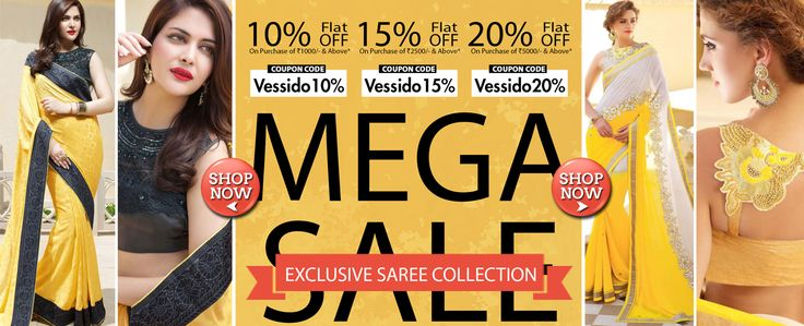 Flat 15% OFF On Purchase of Rs. 2500/- & Above from Vessido.com on Exclusive Indian Saree Collection. Buy Online to avail the offer