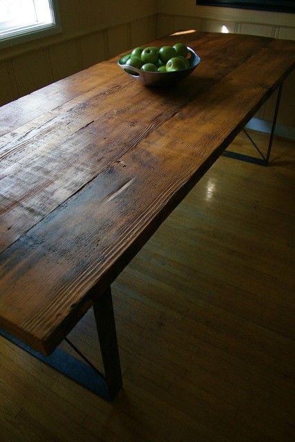 Beautiful Handmade Table and Benches, Reclaimed from 1906 Train Station