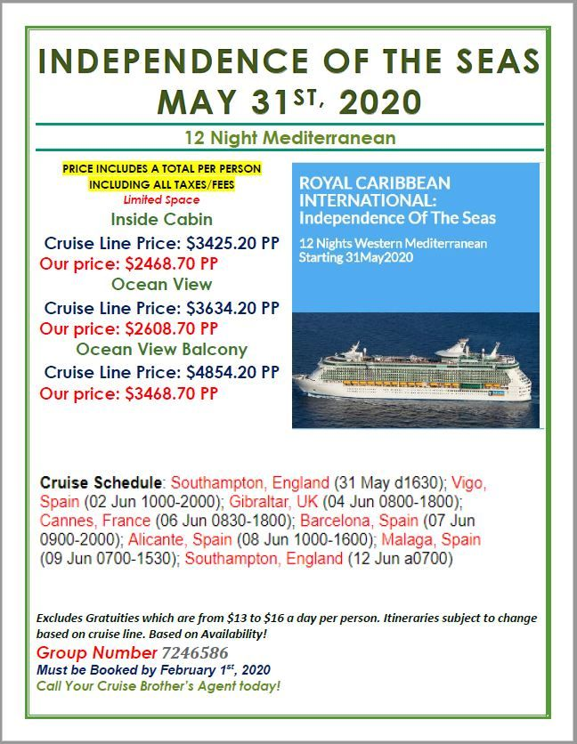 Cruise Brothers Special Fares For Cb Clients Cruise Independence Of The Seas Royal Caribbean