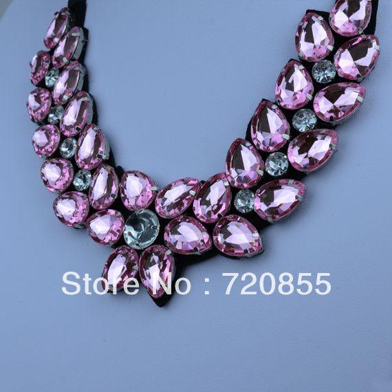 Light pink Acrylic Woman Collar Necklace,Fashion Handmade Jewelry,With Acrylic & Rhinestone,Length: Can adjustment