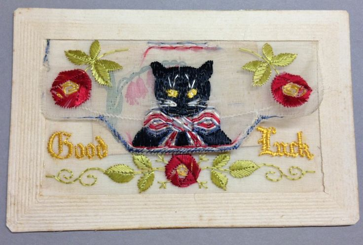 Silk Postcard - possibly WW1 era. Black Cat and good luck (with insert).