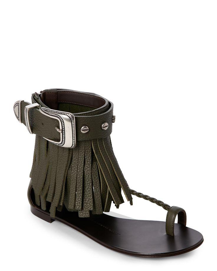 Giuseppe Zanotti Design Military Green Fringed T-Strap Sandals