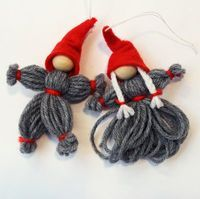 Garntomte   Christmas craft - yarn nisse/tomte