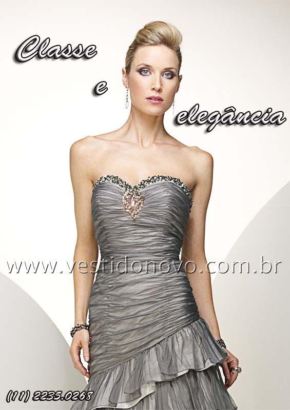Vestido cinza chumbo, mae do noivo, bodas de prata - CASA DO VESTIDO NOVO (11) 2274-9604 ou 2235-0268