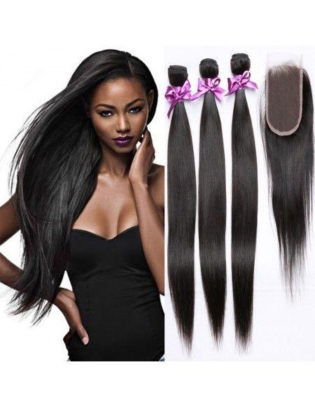 4 Tissages Malaisiens 1 top closure cheveux lisses